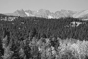 Colorado Mountain Prints Prints - Colorado Rocky Mountain Continental Divide Autumn View BW Print by James Bo Insogna