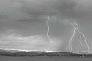 Lightning Wall Art Prints - Colorado Rocky Mountains Foothills Lightning Strikes 2 BW Print by James Bo Insogna