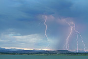 Unusual Lightning Posters - Colorado Rocky Mountains Foothills Lightning Strikes 2 Poster by James Bo Insogna