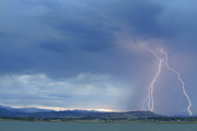 Lightning Bolt Pictures Prints - Colorado Rocky Mountains Foothills Lightning Strikes Print by James Bo Insogna