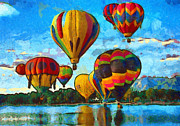 Water Reflections Mixed Media Framed Prints - Colorado Springs Hot Air Balloons Framed Print by Nikki Marie Smith
