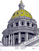 Pen And Ink Framed Prints Metal Prints - Colorado State Capitol Metal Print by Frederic Kohli