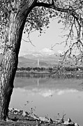 Stock Images Prints - Colorado Twin Peaks Reflections in Black and White Print by James Bo Insogna