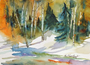 Snowy Trees Paintings - Colorado Winter by Renee Chastant
