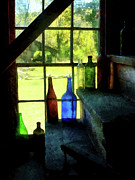 Glass Bottle Art - Colored Bottles On Steps by Susan Savad