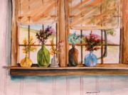 Simplicity Drawings Metal Prints - Colored Glass Metal Print by John  Williams