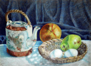Teapot Drawings - Colored Pencil Still Life no2 by Stephen Boyle