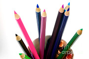 Colored Pencil Prints - Colored Pencils And Crayons Print by Photo Researchers, Inc.