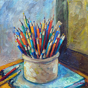 Crocks Paintings - Colored Pencils in Butter Crock by Jean Groberg