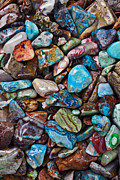 Turquoise Metal Prints - Colored Polished Stones Metal Print by Garry Gay