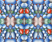 Cells Digital Art - Colored Rocks Design by Nancy Mueller