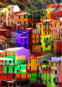 Building Pastels Prints - Colored Windows Print by Stefan Kuhn