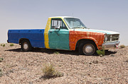 Scrub Brush Prints - Colorful Abandoned Truck in the Desert Print by Paul Edmondson