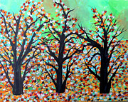 Woodland Paintings - Colorful Autumn Trees by Suzeee Creates