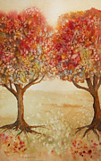 Autumn Trees Painting Posters - Colorful Autumn Twin Trees Poster by Kerri Ligatich