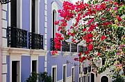 Colonial Scene Prints - Colorful Balconies of Old San Juan Puerto Rico Print by George Oze
