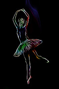 Ballerina Digital Art Framed Prints - Colorful Ballerina Framed Print by Stefan Kuhn