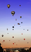Weightless Prints - Colorful balloons on colorful sky Print by Angel  Tarantella