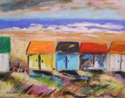 Red Roof Drawings - Colorful Beach Houses by John  Williams
