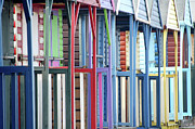 Beach Hut Posters - Colorful Beach Huts Poster by Kevin Button