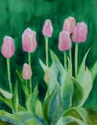 K Joann Russell Art - Colorful Beautiful Flowers Garden Art Pink Tulips Original Watercolor by K Joann Russell