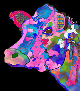 Kate Farrant Posters - Colorful Bessie the Cow  Poster by Kate Farrant