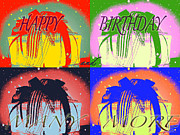 Worker Mixed Media Posters - Colorful Birthday Card  Poster by Debra     Vatalaro