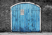Travelpixpro Posters - Colorful Blue Garage Door French Quarter New Orleans Color Splash Black and White and Poster Edges Poster by Shawn OBrien