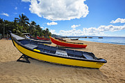 Aguadilla Prints - Colorful Boats on a Beach Print by George Oze