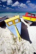 Beach Acrylic Prints - Colorful Boats on  Eagle Beach  Aruba Acrylic Print by George Oze