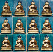 Relief Tile Posters - Colorful Buddha Tiles Poster by Sam Bloomberg-rissman
