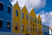 Antilles Framed Prints - Colorful Building Facades Oranjestad Aruba Framed Print by George Oze