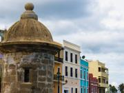 Puerto Rico Framed Prints - Colorful Buildings on a Street in Old San Juan Framed Print by George Oze