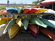 Hatches Harbor Posters - Colorful Canoes Poster by Daniela Kriva