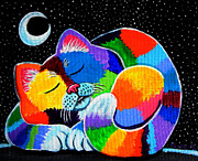 Kitten Painting Prints - Colorful Cat in the Moonlight Print by Nick Gustafson