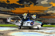Pby Catalina Posters - Colorful Catalina Poster by David Lee Thompson