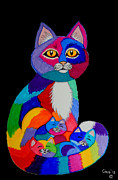 Colorful Animals Drawings Framed Prints - Colorful Cats and Kittens Framed Print by Nick Gustafson