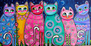 Moonshine Paintings - Colorful Cats in the Moonlight by Krista Smith