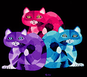 Felines Painting Prints - Colorful Cats Print by Nick Gustafson