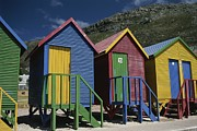South Africa Prints - Colorful Changing Huts Line A South Print by Tino Soriano