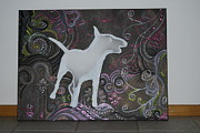 English Bull Terrier Paintings - Colorful Character by Dagmar Ruusamae