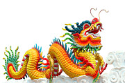 Religious Art Sculpture Originals - Colorful chinese dragon isolated  by Phalakon Jaisangat
