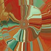 Tangerine Digital Art Prints - Colorful Circles Print by Bonnie Bruno