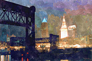 Urban Watercolor Digital Art Prints - Colorful Cleveland Print by Kenneth Krolikowski
