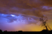 Lightning Weather Stock Images Art - Colorful Cloud to Cloud Lightning Stormy Sky by James Bo Insogna