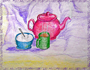 Tea Pot Drawings Prints - Colorful Coffee Print by Debbie Portwood