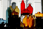 Glass Bottle Posters - Colorful Congregation Poster by Suzanne Gaff