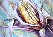 Corn Paintings - Colorful Corn by Maryann Schigur