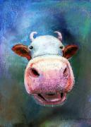Humorous Pastels Posters - Colorful Cow  Poster by Arline Wagner
