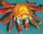 Vivid Pastels Posters - Colorful Crab II Poster by Stephen Anderson